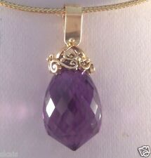 14k Solid Yellow Gold 20.00ct Genuine Briolette Amethyst Pendant skais A15