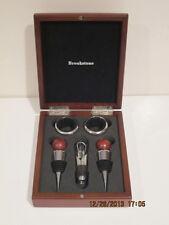 BROOKSTONE Wine Bottle Bar Set 5 Piece Stopper Aerator Metal Wood Box Ring Dad