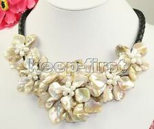 Vintage ivory white Large Mother of Pearl Flower Pendant Necklace