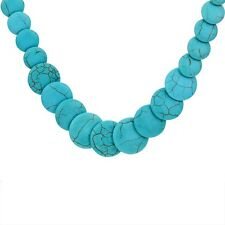 Trendy Extension Round Turquoise Stone Flat Beads Tibetan Silver Chain Necklace