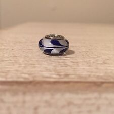 Pandora Authentic Silver Murano Glass Blue Swirl Charm Bead 790675 Retired