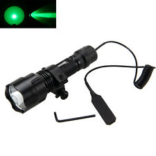 New CREE C8 Green Light LED Hog Night Hunting Flashlight For Rifle W/Scope Mount