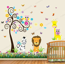 Owl Animal Tree Butterfly Giraffe Lion Zebra Wall Stickers Art Decal Paper Kids