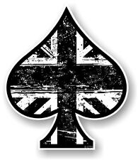 ACE OF SPADES With B & W Union Jack Flag vinyl Car Helmet Bike sticker decal