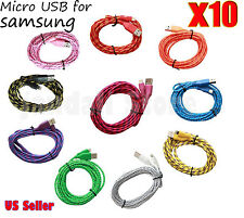 lot 10x Braided Micro USB Charger Charging Cable Cord for Samsung Galaxy android