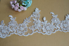 """Embroidered Bridal Lace Trimming Ribbon Ivory Corded Floral Wedding Edging 4"""""""