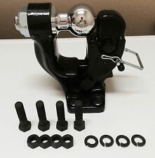 """4ton BLACK PINTLE HOOK 2"""" BALL COMBO TRAILER TOW HITCH TOWING HEAVY DUTY"""