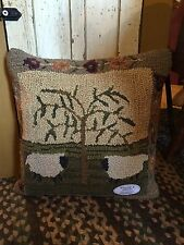 """Willow & Sheep Hooked Pillow from Park Designs-20"""" x 20"""""""