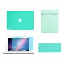 "4in1 Rubberized TIFANY BLUE Case for Macbook White 13"" +Keyboard Cover +LCD +Bag"