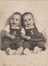 Vintage photograph, 1950, identical twin baby boys