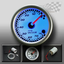 "VACUUM GAUGE UNIVERSAL 52MM / 2"" WHITE FACE WITH FULL BACK GLOW DISPLAY TOYOTA"
