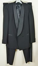 Mens 42 Long Tuxedo Suit Wool Shawl Collar Double Brested 1-button Satin Black