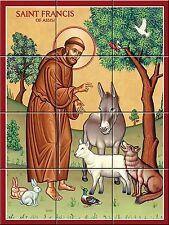 Ceramic Tile Murals Religious Catholic Saint Francisco de Asis (18 X 24 inches)
