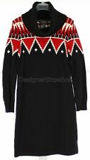 LAUREN RALPH LAUREN Black Cotton Wool Turtle Neck Sweater Dress Womens US S