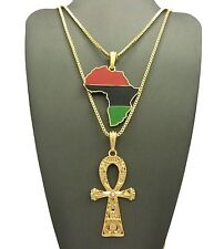"NEW AFRICA & ANKH CROSS PENDANT &24""&30"" BOX CHAIN HIP HOP NECKLACE SET RC2200G"