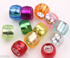100 Mixed Color Silver Foil Hole Pony Round Beads 9x6mm For Kandi Bracelet Craft