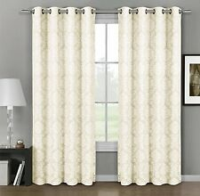 Aryanna Top Grommet Jacquard Window Curtain Panel 100% Polyester Set of 2 Panels