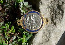 VINTAGE ENAMEL AUTOMOBILE CAR BADGE # BEHOLD ST CHRISTOPHER THEN GO OUR WAY SAFE
