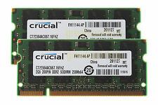 4GB 2X 2GB Crucial 2RX8 DDR2 667mhz PC2-5300 Laptop SODIMM RAM Memory CL5 1.8V