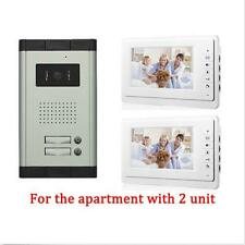 2 Unit Apartment Intercom Entry System 7''Phone Monitor Audio Wired Video Door