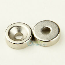 2 X Super Strong Magnet 15 x 5 mm Countersunk Hole 5mm Rare Earth Neo Neodymium