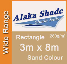 Extra Heavy Duty Shade Sail Sand Rectangle 3x8m, 3m x 8m, 3 by 8m, 3 x 8m, 3mx8m