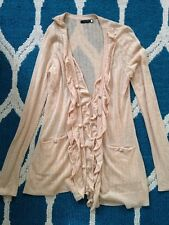 Anthropologie Leifsdottir S Small Cream Cardigan Sweater Ruffle