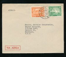 ADEN 1948 AIRMAIL ENVELOPE 1R + 8A FRANKING to CHRYSLER DETROIT...A.BESSE + CO