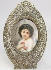Large 19th C. German Hand-Painted Porcelain Painting of Girl  c. 1880  antique