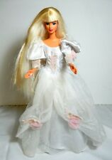 BARBIE DOLL DRESSED BRIDE WHITE TULLE PINK ROSES WEDDING GOWN PURPLE EARRINGS