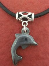 Dolphin Necklace Leather New Hematite Charm Pendant and Cord