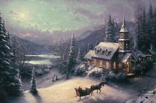 Sunday Evening Sleigh Ride Thomas Kinkade Christmas Card w/ Message NOT Postcard