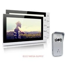 "9"" Video Door Phone Intercom Doorbell Security 1 Camera 2 Monitors Night Vision"
