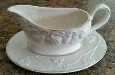 Mikasa Countryside Harvest Collection Gravy Boat & Saucer Ivory/Brown (New)