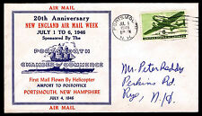1946 FIRST MAIL FLOWN BY HELICOPTER - PORTSMOUTH, NH - C26 FRANKING (ESP#4013)