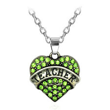 Teacher Family Crystal Love Heart Pendant Green Rhinestone Necklace Chain T2G07