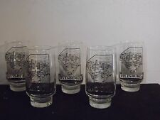 5 Vintage Pittsburgh Pa  Number 1 Glass Tumblers Black and Gold