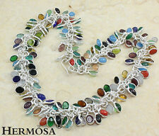 """75% OFF 925 Sterling Silver Amethyst Coral Citrine Chalcedony Necklace 21"""" XY64"""