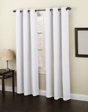 """2 WHITE PANELS THICK LINED BLACKOUT GROMMET WINDOW CURTAIN K86 63"""" LONG"""