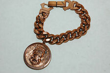 Vintage Heavy Renoir Solid Copper Curb Braclet with Theatre Charm