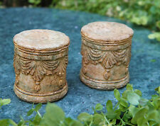 Miniature Dollhouse FAIRY GARDEN Furniture ~ Pair of Aged Resin Seats w Swag