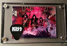 KISS Unmasked live image card / promo guitar pick display w/ Ace & Eric Carr!