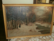 Vintage Winter Lanscape/Forest Oil On Board Painting