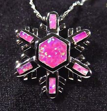 Sterling 925 Silver SF Pendant & Chain Pink Lab Fire Opal HOLIDAY SNOWFLAKE