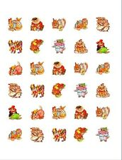 30 Glossy Square Stickers Envelope Seals Favor Tags Clown Cats (s53)