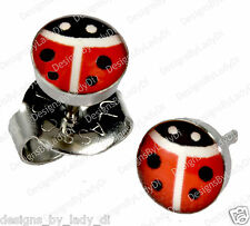 Ear Piercing Earrings Red Lady Bug 5mm Studs Stainless Steel Studex System 75