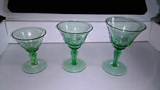 Vintage Green Art Deco Glass 3x Liqueur / Wine  / Cocktail Glasses .