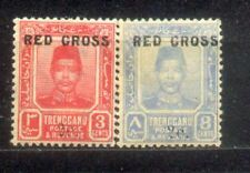 2 Malaya Malaysia 1917 Trengganu stamps Ovpt Red Cross MINT Hinged