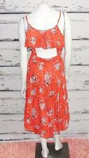ANGIE~FLORAL *HI-LOW CUT OUT*~2 POCKETS~OPEN BACK DRAPERY RUFFLED DRESS~L