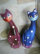 "ornaments x 2 - Terracotta pot Cats- painted-charcture 6"" High- Hippy-ethnic"